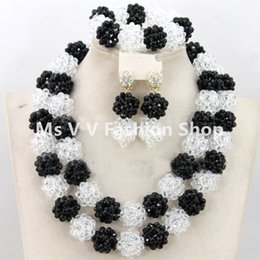 $enCountryForm.capitalKeyWord Australia - Chunky black white Nigerian Bridal Beads Necklace Set African Costume Beaded Wedding Jewelry Set Free Shipping