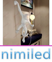 italy modern lighting 2019 - nimi1030 Italy Seletti Monkey Wall Lamp Lights Bedside E27 Resin Paint Lighting Creative Bedroom Hotel Living Room Indus