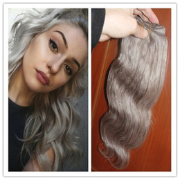 silver grey hair extensions Australia - HOT New 2016 Fashion Silver Grey Human Hair Extensions 1pcs lot Unprocessed Brazilian Virgin Natural Wave Silver Grey Hair Weave