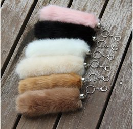 $enCountryForm.capitalKeyWord Australia - 2017 plush fur Keyring Tail Rabbit Long 20cm Lucky Charm Faux Fur Cute Soft Fluff Handbag Charms car keychain pendant Festival party gift Q1