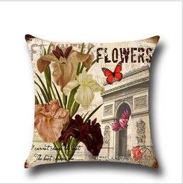 Chinese  Flower Butterfly Pillow Case Thick Cotton Linen Pillow Case Cushion Cover Linen Cotton Throw Pillowcases Sofa Car Decorative Pillow cover manufacturers