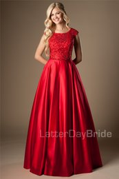 Beaded Modest Prom Dresses Canada - Red Satin Long Modest Prom Dresses With Cap Sleeves A-line Heavily Beaded Bodice College Modest Evening Party Gowns Couture on Sale
