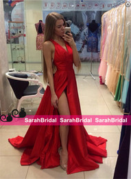 Barato Ocasião Especial Vestidos Comprimento Total-Red Evening Dresses Full Floor Length Long Prom Dresses para 2016 Ocasião Especial Venda formal desgaste formal Cheap Sexy High Split Prom Gowns