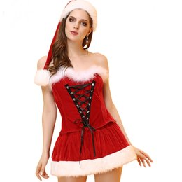 Mini Jupe Fourrure Pas Cher-Robe en costume de fête de Noël pour femme 3pcs Set Costume de cosplay Costume en fourrure Hemline Sexy Tube Top + Mini jupe + Santa Hat Women Xmas Stage Cosplay