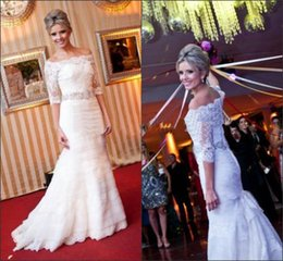 Lace Beaded Layered Dress Canada - Off Shoulder New Sheer Mermaid Lace Wedding Dresses 2018 With Half Sleeves W1381 Princess Long Bridal Gowns Beaded Sash Elegant Layered Top