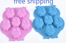$enCountryForm.capitalKeyWord Australia - 6-cavity Owl Cake Mold Flexible Silicone Soap Mold For Handmade Soap Candle Candy bakeware baking moulds kitchen tools