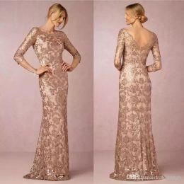 2018 diseñador elegante lentejuelas de oro rosa con apliques de madre de los vestidos de novia vestido de fiesta de noche barato boda formal vestidos de invitados
