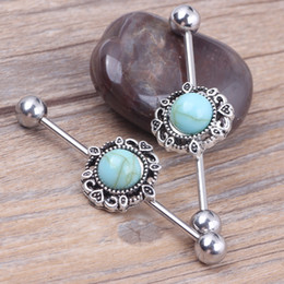 Wholesale 12Pcs Blue Turquoise Ear Industrial Barbell Scaffold Bar Barbell Piercing Cartilage Earring Body Jewelry