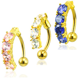 14k gold belly button rings Canada - Fashion Gold Plated Navel Rings 316L Stainless Steel Barbells 3 Color Rhinestone Belly Button Rings Body Piercing Jewelry