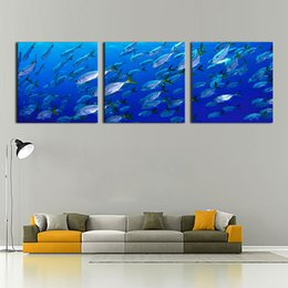 Deep Frames Canada - Deep-Sea Fishs Picture Sensations no Framed Huge 3-Panel Modern Art Underwater Ocean Sea World Giclee Canvas Art