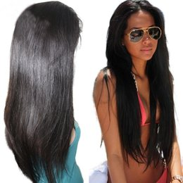 26 Inch Full Lace Canada - Full Lace Straight Human Hair Wig 10-26 inch In Stock Brazilian Hair Full Lace Wig For Women Natural Straight Lace Wig