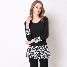 f3bfa627a0b Plus Size Dresses For Women Autumn Long Sleeve Solid Black Loose Clothes  Fashion Elegant Printing Vestidos Female Party Club