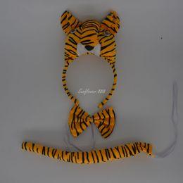 Headband Kits Australia - Fun Tiger Party Animal Cosplay Headband Ears Set Bow Tail Fancy Dress Costume For Kids Supplies Decor