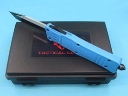 tactical defense gear UK - Promotion Large Size 616 Deep Blue Handle Auto Tactial Knife 440C 58HRC Single Edge Tanto Half Serration Blade Tactical EDC Gear