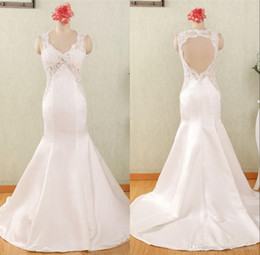 Bridal Satin Mermaid Wedding Dresses Canada - 2018 Satin Wedding Dresses Custom Made Mermaid Bridal Gowns Sexy V Neck Lace Appliques with Beading and Sequins Keyhole Back Trumpet Dresses
