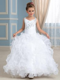 Robe Jolie Fille Pas Cher-Pretty White Organza Straps Beads Flower Girl Dress Jupe d'anniversaire Girl's Pageant Robes Taille personnalisée 2 -14 F0904001