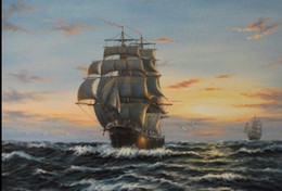 $enCountryForm.capitalKeyWord NZ - Framed seascape ship big sail boat on ocean in sunset,Pure Hand-painted Seascape Art oil painting Canvas Multi sizes Available Free Shipping