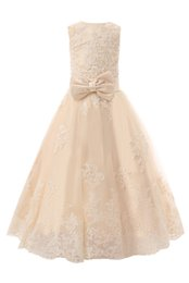 Chinese  In Stock Champange Flower Girl Dresses Jewel Neck Appliques Beaded Lace Floor-length A-line Little Kids Dresses manufacturers