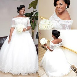 $enCountryForm.capitalKeyWord NZ - 2016 New African Style Puffy Ball Gown Wedding Dresses Short Sleeves Off Shoulder Lace Appliques Beaded Tulle Plus Size Formal Bridal Gowns