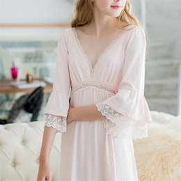 Longue Chemise De Nuit En Dentelle Rose Pas Cher-Autumn Rose Sexy long sommeil Lounge Cotton Sleepwear Femme Accueil Robe en dentelle Princesse Vintage Nightgown femmes Sleeping Dress # L5