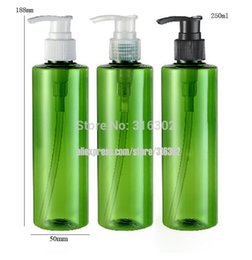 Discount pump bottle plastic green - Wholesale- Free Shipping - DIY 250ml Green Bottle with Dispening Lotion Pump, 250cc Green Plastic Shampoo Bottle, Cosmet