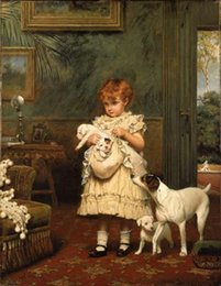 $enCountryForm.capitalKeyWord Canada - Charles Burton Barber - Girl with Dogs Puppy in room,Free Shipping,Handpainted Portrait Art Oil painting canvas,In Any size customized