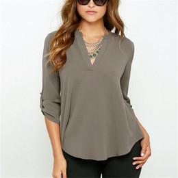 Womens sexy Work clothes online shopping - Women Chiffon Blouses V Neck T  Shirt Autumn Sexy 092d06f4e