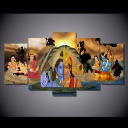$enCountryForm.capitalKeyWord NZ - 5 Pcs Set Framed Printed Figure Buddha Painting Canvas Print room decor print poster picture canvas Free shipping NY-5763
