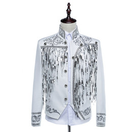 China Free ship mens bling black white sequined golden silver embroidery stage performance short tuxedo jacket suppliers