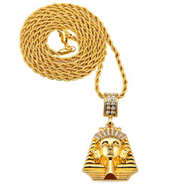 Egypt Pendants Australia - high quality Hip hop 18k gold Plated Small Egypt pharaoh Last King Pendants Necklace Jewelry for men women for dress accessories