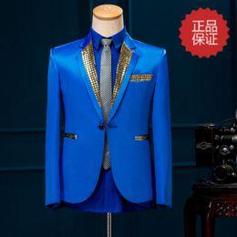 $enCountryForm.capitalKeyWord Canada - Free ship mens stage performance plain blue red sequined collar tuxedo jacket stage wear singing bar wedding ,only jacket