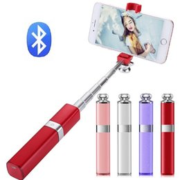 Mixing Red Purple Lipstick NZ - S1 Selfie Stick Wireless Bluetooth & Wired Universa Luxury Fashion Aluminum Alloy Telescopic Lipstick Nude for IOS Android Smartphones