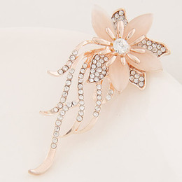 Brooches For Dresses Canada - Summer Sale Korean Version Fashion Accessories Jewelry Opal Water Drop Czech Drilling Flower Leaf Tassel Dress Charm Brooches Pins For Women