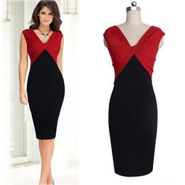 Black Blocks Canada - Hot Selling Celebrities Same Sytle Elegant Women Fashion Dresses Black and Red V-neck Sleeveless Color Blocking Slim Pencil Dress