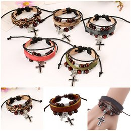 Discount stainless steel friendship bangles - Fashion Vintage PU Leather Bracelet Mens Cross beaded Bracelets Best Friendship Bangles Cuff Wristband Jewelry Free DHL