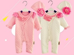 bodysuits princess Canada - 2016 Princess Newborn Baby Girl Clothes Girl air cotton Lace Flowers Rompers+Hats Baby Clothing Sets Infant Jumpsuit autumn winter bodysuits