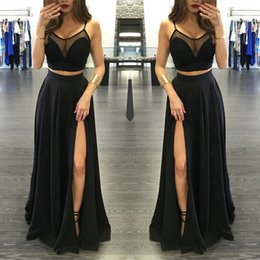 Barato Longo Graduação Vestidos Cintas-Sexy Black Illusion Dois Pieces Prom Dresses 2017 Frente Split Spaghetti Strap Longo Formal Party Prom Gowns Evening Celebrity Graduation Gowns