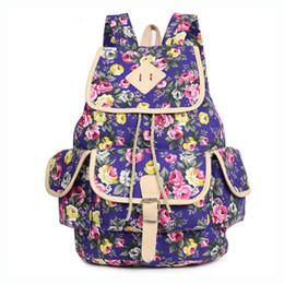 $enCountryForm.capitalKeyWord Canada - 2016 Korean Fashion Floral Print Backpack Large Capacity Traveling Backapck Hot Canvas Adorable Girls Backpack Blue