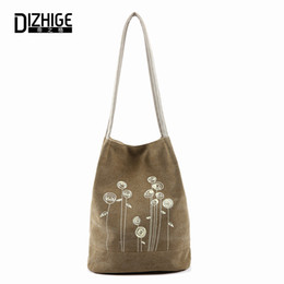 Big Ladies Handbags Canada - Spring And Summer Shoulder Bag Canvas Women Handbags Bucket Ladies Hand Bags Casual Big Female Floral Tote Bag For Ipad Bolsos