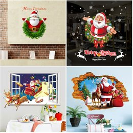christmas glass window wall 2019 - 2018 Claus Reindeer Mural 3D Window Wall Sticker Christmas Wall Decal Art Home Decoration Window Decoring Removable Deco
