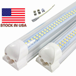 integrated 4ft tube 2019 - Stock In US + 8ft led t8 4ft tube lights double rows smd2835 led tubes 72w integrated 2.4m led Fluorescent lamps AC 85-2