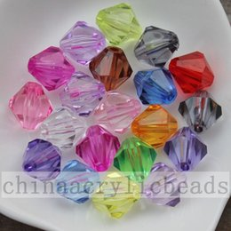 Acrylic Hearts Beads Canada - Wholesale Price Assorted Colors Transparent Faceted Acrylic Bicone Spacer Beads Charm 4 mm To 20 mm