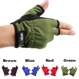 Fish Finger NZ - 10 Pairs 3 Cut Finger Summer Mesh Glove Outdoor Fishing Finger Protector Anti-Slip Skidproof Comfortable 3 low Finger Fishing Glove 4 Colors
