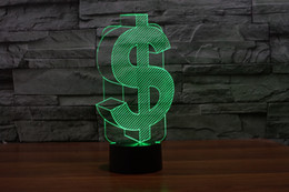 2017 USD Exchange Sign 3D Optical Lamp Night Light 10 LEDs Night Light Battery DC 5V Colorful 3D Lamp on Sale