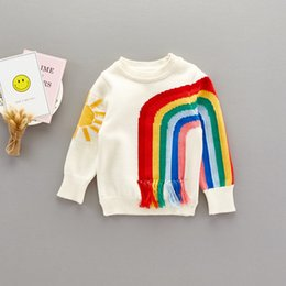 Barato Pullover De Tricô Patchwork-Everweekend Meninas Meninas Meninas Rainbow Sun Knitted Tassels Sweater Tops Candy Color Patchwork Autumn Spring Blouse