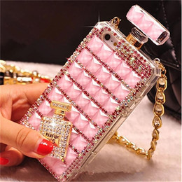 Wholesale For iPhone s Perfume Bottle Diamond Mobile Phone Case Lanyard Case S Rhinestone Mobile Phone Case with Opp Package
