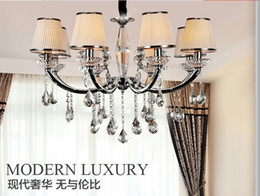 $enCountryForm.capitalKeyWord Canada - Newly Modern Brief Europe Style Fabric Lampshade Crystal Chandeliers Diameter 80cm 8 Arms E14 Light Source Free Shipping