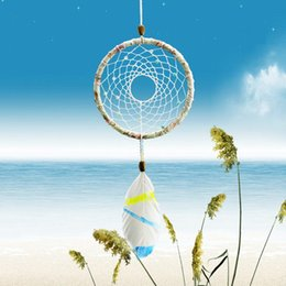 $enCountryForm.capitalKeyWord NZ - New Simple Style Sea Dreamcatcher Gift Handmade Dream Catcher Net With Feathers Wall Hanging Decoration Decor Ornament