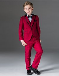 Barato Ternos Do Baile De Finalistas Dos Miúdos-Mais recente, um botão Boy Tuxedos Peak Lapel Children Suit Royal Blue / Red / Black Kid Wedding / Baile de finalistas (Jacket + Vest + Pants + Bow Tie + Shirt) NH2