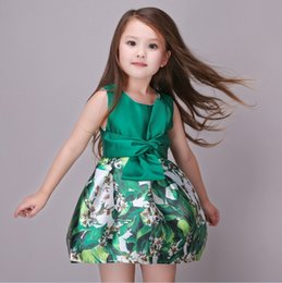 Jolies Robes Pour Enfants Pas Cher-7pcs / lot 2016 Big Girls Vest Dress Big bowknot Green Leaves enfants Vêtements Filles Mode Pretty Party Princess Dress Girls Dress KB509